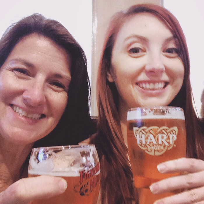 Emily and her mom enjoying a beer