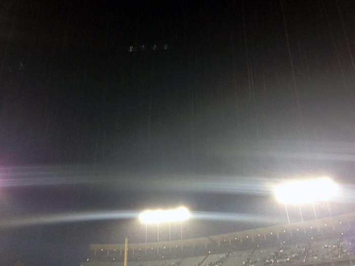 Rain at Dodger Stadium